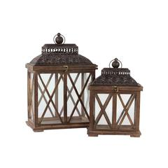 Benzara Classic & Traditional Wooden Lantern Set Of Two In Rustic Antique Finish W/ Crossed