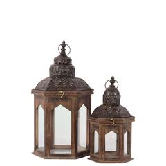 Persian Style Wooden Lantern Set Of Two In Antique Brown Finish W/ Dark Dome Shaped Roofs
