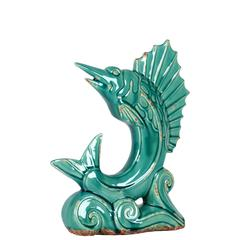 Benzara Glorious & Majestic Ceramic Standing Sail Fish Blue