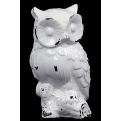 Benzara Dazzling Ceramic Owl Antique In Radiant White Shade