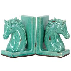 Benzara Stoneware Horse Bookend W/ Weathered Effects In Light Blue Shade
