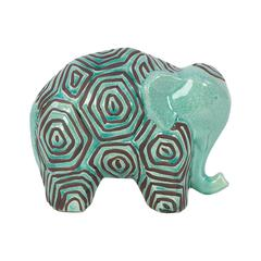 Benzara Stoneware Elephant W/ Dark Ethnic Markings In Light Blue Shade