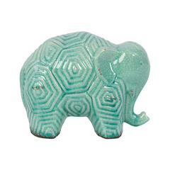 Stoneware Elephant W/ Hexagonal Ethnic Markings In Light Blue Shade