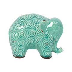 Stoneware Elephant W/ Circular Ethnic Markings In Light Blue Shade