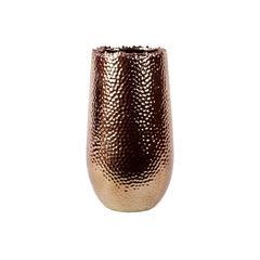 Benzara Sleek & Shiny Ceramic Vase In Copper Coating Large
