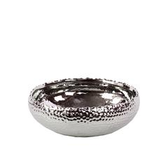 Hammered Design Ceramic Pot In Silver Coating Small
