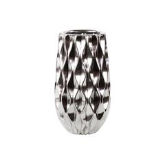 Contemporary Ceramic Vase W/ Diamondshaped Design In Silver Coating