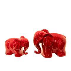 Benzara Pair Of Two Cute Ceramic Elephants