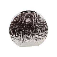 Contemporary & Stylish Flattened Round Shape W/ Hammered Design Ceramic Vase Silver