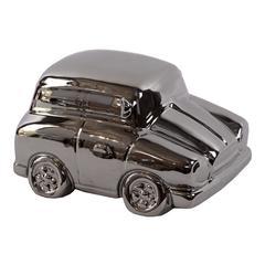 Benzara Stylish & Shiny Ceramic Car In Polished Silver Finish
