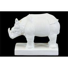 Benzara Delicately Designed White Rhino Animal Ceramic Miniature