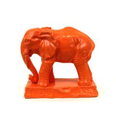 Benzara Elegant Ceramic Elephant W/ Detailed Features In Orange