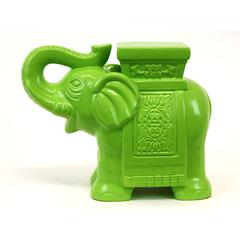 Trumpeting Ceramic Elephant W/ Detailed Mount Green