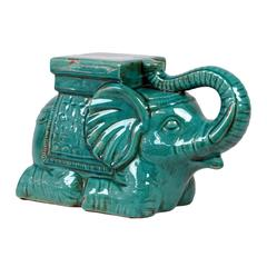 Trumpeting Ceramic Elephant W/ Detailed Mount Antique Blue