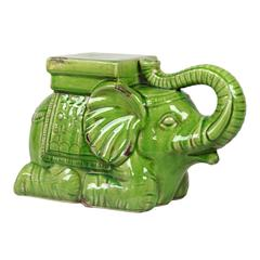 Trumpeting Ceramic Elephant W/ Detailed Mount Antique Green
