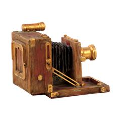 Antique Style Resin Camera W/ Gold Plated Fittings & Brown Colored Body