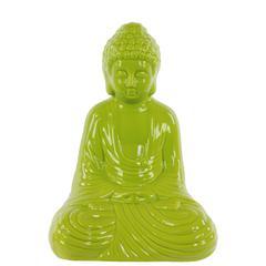 Ceramic Meditating Buddha In Dhyana Mudra - Yellow Green