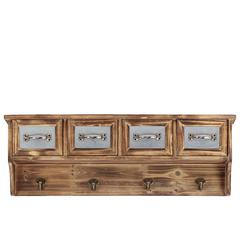 Benzara Majestic & Classic Style Wooden Handing Cabinet W/ Four Cabinets & Four Wall Hooks