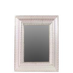 "Elegant 36"" Metal Mirror W/ Square Embossed Border"