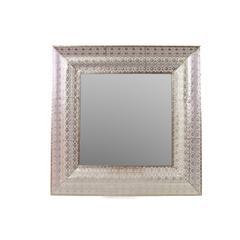 "Elegant 32"" Metal Mirror W/ Square Embossed Border"