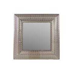 Square Metal Mirror W/ Embossed Border