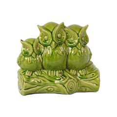 Charming & Captivating Triple Ceramic Owls On A Stump In Green