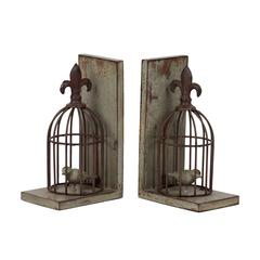 Benzara Rustic & Charming Resin Bird Cage Bookends W/ One Bird In Both Cage