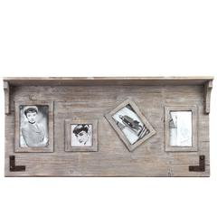 Elegant & Versatile Wooden Top Shelf W/ Four Photo Frame Attached