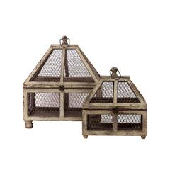 Benzara Wire Mesh & Wooden Terrarium Set Of Two Attached W/ Metal Handle & Locker