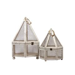Wooden & Wire Mesh Hexagon Terrarium Set Of Two W/ Jute Rope