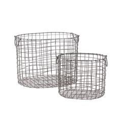 Benzara Wire Meshed Metal Container W/ Side Handles Set Of Two