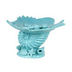 Attractive & Delightful Ceramic Seashell W/ Fish Platter In Blue