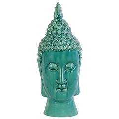 Benzara Compulsive & Spiritual Ceramic Buddha Head In Blue