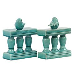 Benzara Charming & Adorable Ceramic Bird On Bannister Bookendturquoise