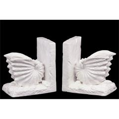 Benzara Neat & Gorgeous Ceramic Sea Snail Shell Bookend In White