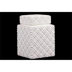 Benzara Elegantly Crafted W/ Beautiful Motif Ceramic Jar In White