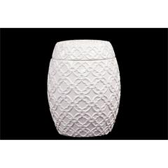 Drum Shaped Ceramic Jar W/ Beautiful Motif In White