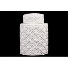 Benzara Cylindrical Shaped Ceramic Jar Embellished W/ Beautiful Motif In White