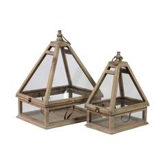 Benzara Glass & Wooden Terrarium Set Of Two