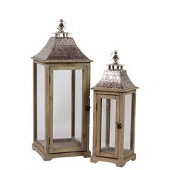 Benzara Wooden Lantern W/ Ethnic Design Metal Roof Set Of Two