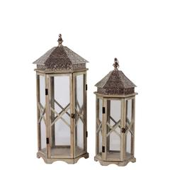 Benzara Skillfully Crafted W/ Zigzag Design Wooden / Metal Lantern Set Of Two