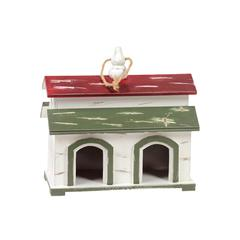 Wooden Bird House W/ Attractive Red & Khaki Colored Roof & Two Doors