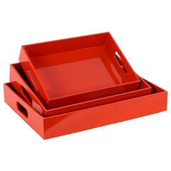 Benzara Orange Set Of Three Exotic Wooden Sophisticated Trays