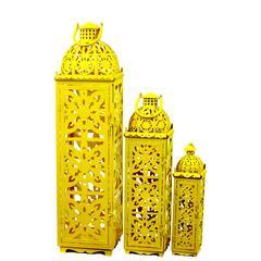Benzara Beautifully Carved Traditional Metal Lanterns Set Of Three In Yellow