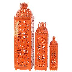 Beautifully Open Carved Metal Lanterns Set Of Three In Orange