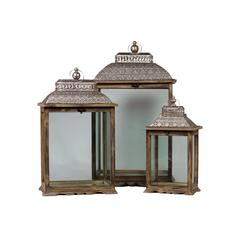 Benzara Wooden & Metal Lantern Set Of Three W/ Large Glass Panes & Persian Style Lid Brown