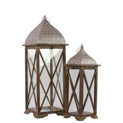 Benzara Persian Style Wooden & Metal Lantern Set Of Two W/ Crisscrossed Design Brown