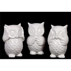 Cute & Adorable Ceramic Owl Set Of Three In Antique Finish Depicting The Three Mysti