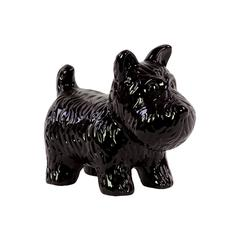 Skillfully Sculpted Playful Ceramic Doggy In Black