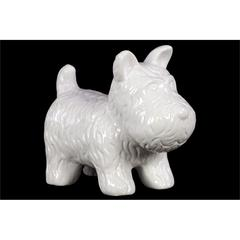 Benzara Skillfully Sculpted Playful Ceramic Doggy In White